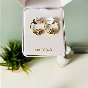 Jewelry - 14k Gold rose hoops
